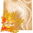 Stock Vector: Autumn wedding postcard, vector illustration