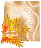 Autumn wedding postcard, vector illustration — Stock Vector
