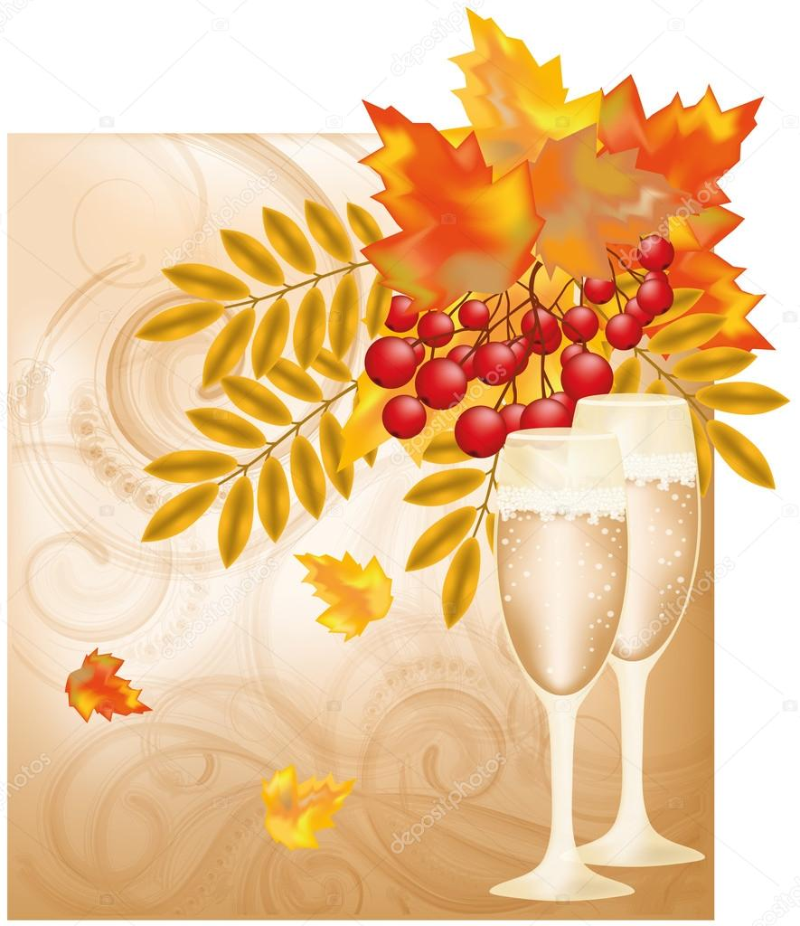 Autumn wedding  card, vector illustration — Stock Vector #12895724