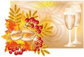 γάμος banner με φθινόπωρο θέμα εικόνα διάνυσμα — Διανυσματικό Αρχείο