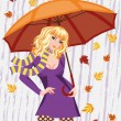 Autumn girl with umbrella. vector illustration — Stock Vector