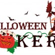 Halloween poker banner with pumpkin, vector illustration — Stock Vector #13195651