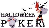 Halloween poker banner with skull, vector illustration — Stock Vector