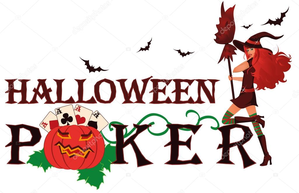 Halloween poker banner with pumpkin, vector illustration  Stock Vector #13195651
