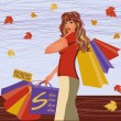 Autumn shopping girl, vector illustration — Stock Vector
