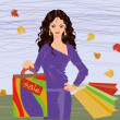 Autumn shopping brunette girl, vector illustration — Stock Vector