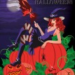 Royalty-Free Stock Векторное изображение: Happy Halloween card. Sexy witch with a pumpkin