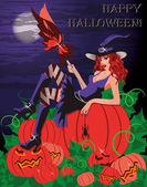 Tarjeta de halloween feliz. bruja sexy con una calabaza — Vector de stock