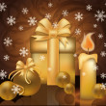 Christmas golden greeting card, vector illustration — Stock Vector