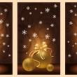 Stock Vector: Set golden christmas banners, vector illustration