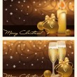Two golden xmas banners, vector illustration — ストックベクタ