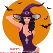 Halloween Sexy witch, vector illustration — Stock Vector