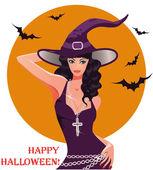 万圣节性感女巫,矢量图 — 图库矢量图片
