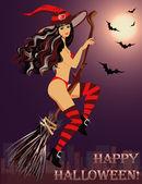 セクシー魔女ハロウィーンのほうきで飛ぶ。ベクトル イラスト — ストックベクタ