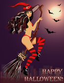 Sexy witch fly on broom in Halloween. Vector illustration — Stock Vector