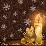 Golden Christmas card, vector illustration — Stock Vector