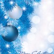 Christmas card with blue silver balls, vector illustration - Stock Vector