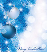 Tarjeta de navidad con bolas de plata azules, ilustración vectorial — Vector de stock