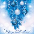 Stock Vector: Merry Christmas banner with blue silver balls, vector illustration