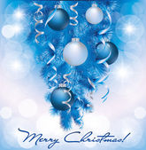 Merry Christmas banner with blue silver balls, vector illustration — Stock Vector