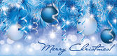Christmas blue silver banner, vector illustration — Stock Vector