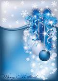 Christmas blue silver card, vector illustration — Stock Vector