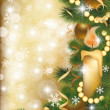 Stock Vector: Christmas banner with golden balls, vector illustration