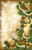 Jul banner med gyllene bollar, vektor illustration — Stockvektor