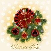 Navidad tarjeta de felicitación de póker, ilustración vectorial — Vector de stock