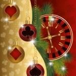 Christmas poker greeting banner, vector illustration — Stock Vector