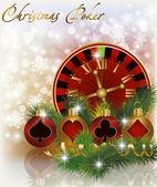 Christmas poker background, vector illustration — Stock Vector