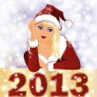 New 2013 Year card with Santa girl. vector illustration — Stock Vector
