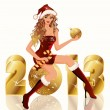 Royalty-Free Stock Imagem Vetorial: New golden 2013 Year and Santa girl, vector illustration