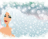 Snow girl, vector illustration — Stock Vector