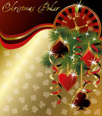 Christmas poker greeting background, vector illustration — Stock Vector