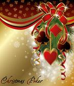 Casino background with poker christmas balls, vector illustration — Stock Vector