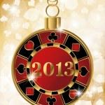 Christmas casino banner with 2013 poker chip, vector illustration — Stock Vector