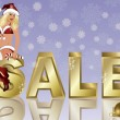 Winter sale banner with xmas girl, vector illustration — Stock Vector #17409375