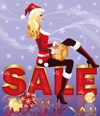 Christmas sale card with santa girl and giftbox. vector illustration — Stock Vector