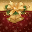 Royalty-Free Stock Imagem Vetorial: Christmas invitation card with golden bells, vector illustration