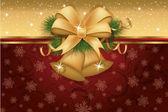 Tarjeta de invitación de navidad con campanas doradas, ilustración vectorial — Vector de stock