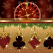 Christmas poker red golden background, vector illustration — Stock Vector