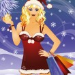 Christmas sale. santa woman with shopping bags. vector illustration - Stock Vector