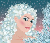 Winter girl seasons card, vector illustration — Stok Vektör