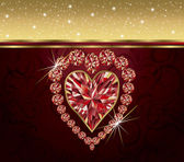 Valentine's day with elegant ruby heart , vector — Stock Vector
