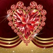 Valentine's day greeting card with ruby heart , vector illustration — Stock Vector
