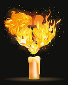 Two fire lovers kissing, vector illustration — Stock Vector
