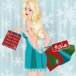 Winter sale girl with shopping bags, vector illustration — Stock Vector