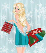 Winter sale girl with shopping bags, vector illustration — ストックベクタ