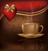 Love card with coffee and heart, vector illustration — Stock Vector